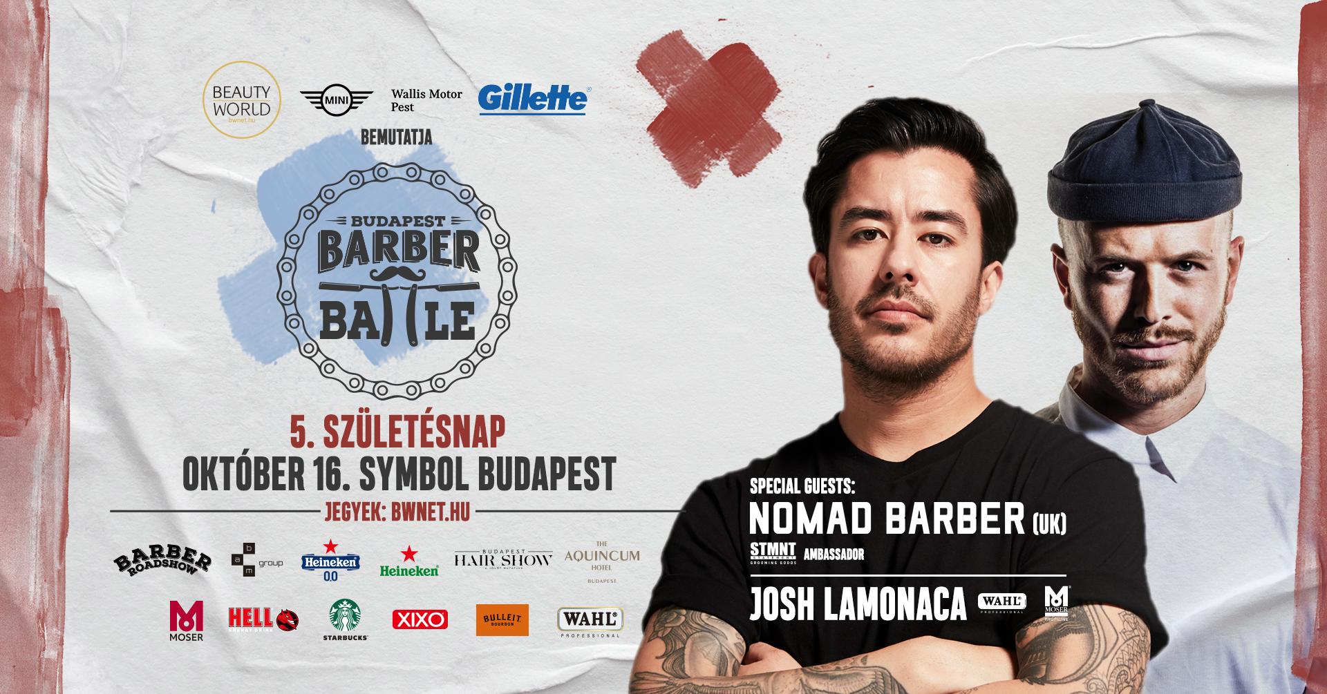 Magyarország legnagyobb pénzdíjazású fodrász- és borbély versenye idén 5. születésnapját ünnepli. A Barber Battle Budapest méltó helyszínt ad a szakmai találkozásra, fejlődésre. Ma már nem csupán verseny, hanem egy olyan hely, ahol a tanulás, verseny, party együttese összehozza a szakmát. Érkezik a nemzetközi STMNT nagykövet @Nomadbarber és óriási hír, hogy Josh Lamonaca annyira jól érezte magát a Budapest Hair Show-n, hogy ő maga is személyesen ellátogat a Barber Battle Budapest 5. születésnapjára!<br /> <br />